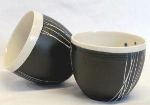 bolinette noire/bleu porcelaine