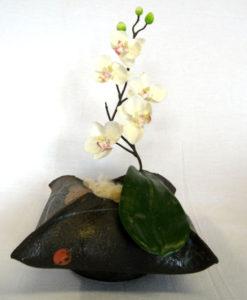"""vase orchidée""""paper clay """" noir"""